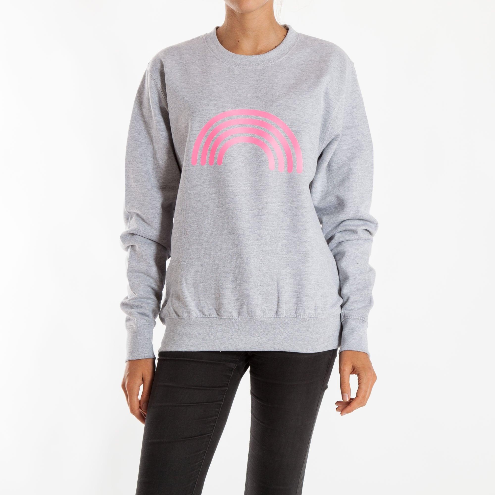 0dd56f1aa1583 Rainbow Boyfriend Sweatshirt in Grey/Neon Pink