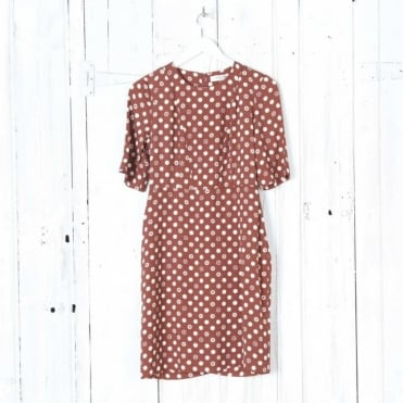Flowers and Dot Print Dress