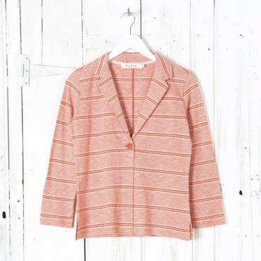 Striped Blazer with Jacquard Detail