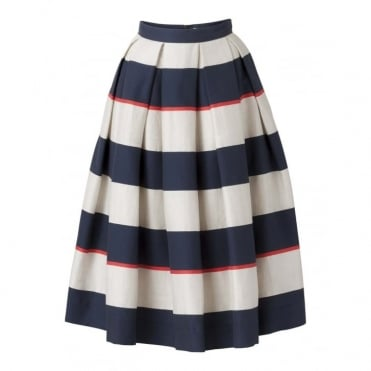 Sijala Pleated Stripe Skirt