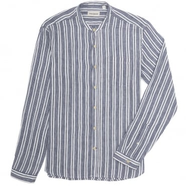 Grandad L/S Stripe Shirt in Elmore Blue