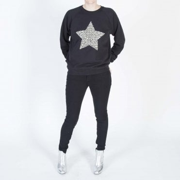 Leopard Star Sweatshirt in Black