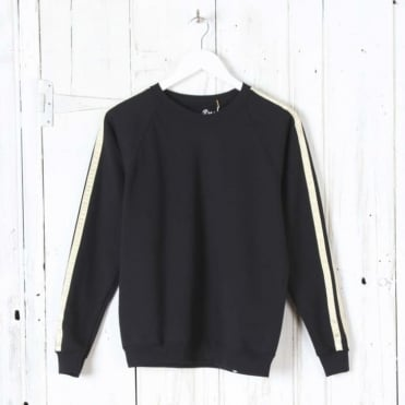 Lurex Stripe Sweat in Black/Gold