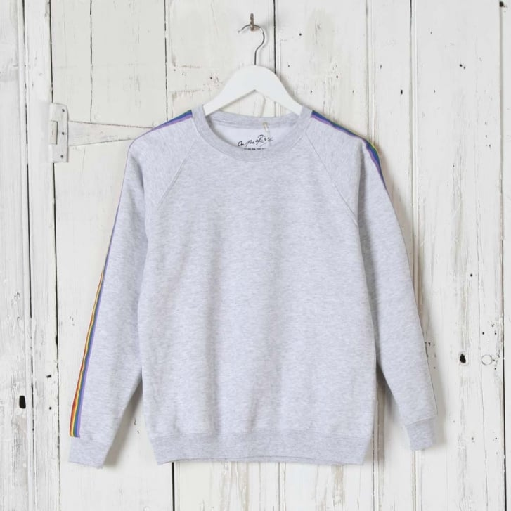 ON THE RISE Rainbow Stripe Sweatshirt in Grey