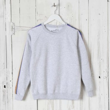 Rainbow Stripe Sweatshirt in Grey