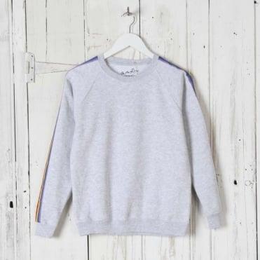 Rainbow Stripe Sweatshirt in Grey
