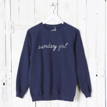 Sunday Girl Silver Script Sweatshirt in Navy