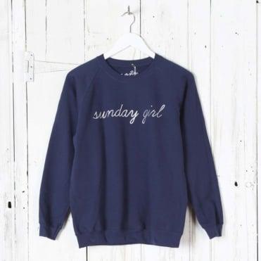 Sunday Girl Silver Script Sweatshirt in Navy