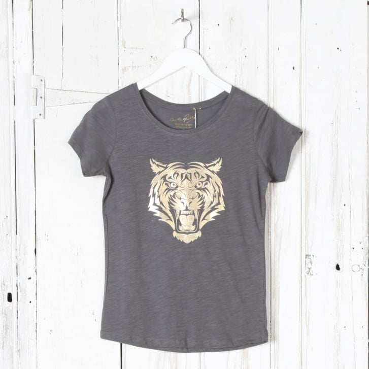 ON THE RISE Tiger Head Gold Foil T-Shirt in Grey