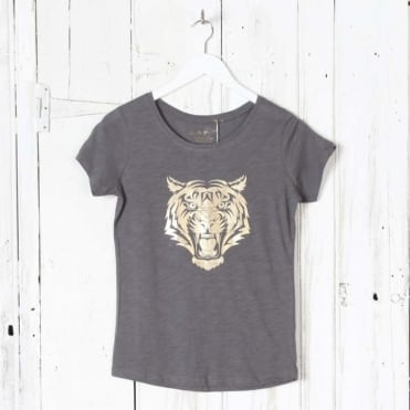 Tiger Head Gold Foil T-Shirt in Grey