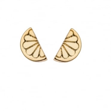 Mini Lemon Gold Plated Stud Earrings
