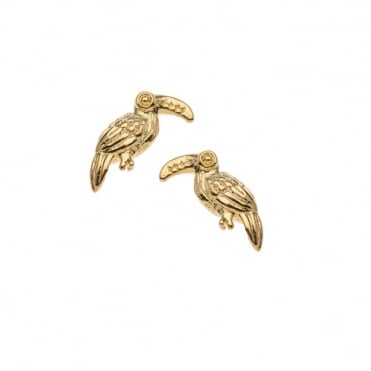 Mini Toucan Gold Plated Stud Earrings
