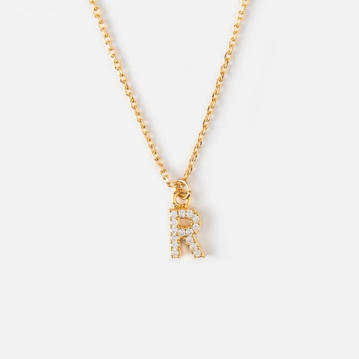 ORELIA R Crystal Initial Necklace