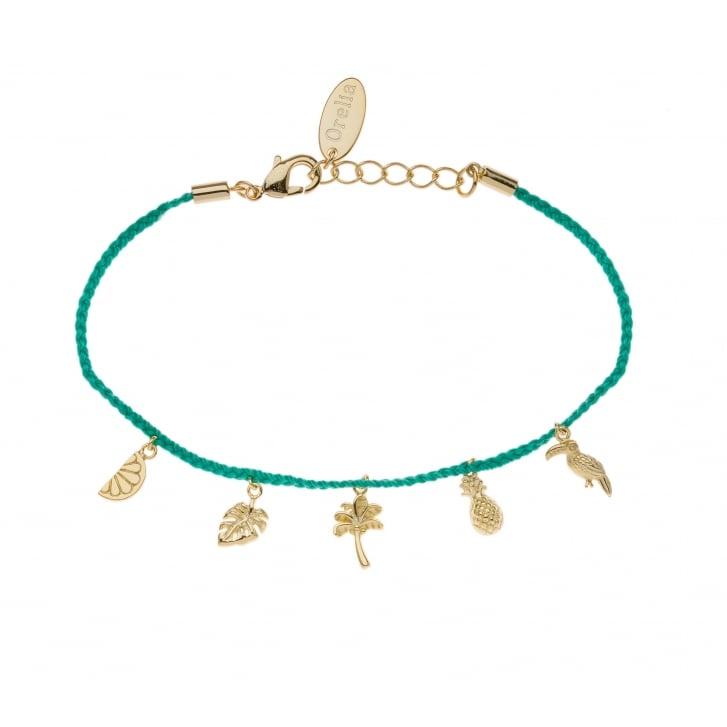 ORELIA Tropical Charm Gold Plated Bracelet