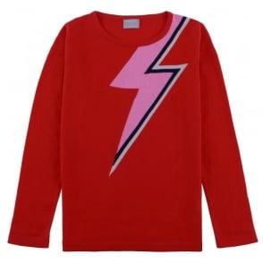 Bowie Lightning Strike Jumper in Red/Neon Pink
