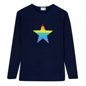 Freyja Rainbow Star Roundneck Jumper in Navy