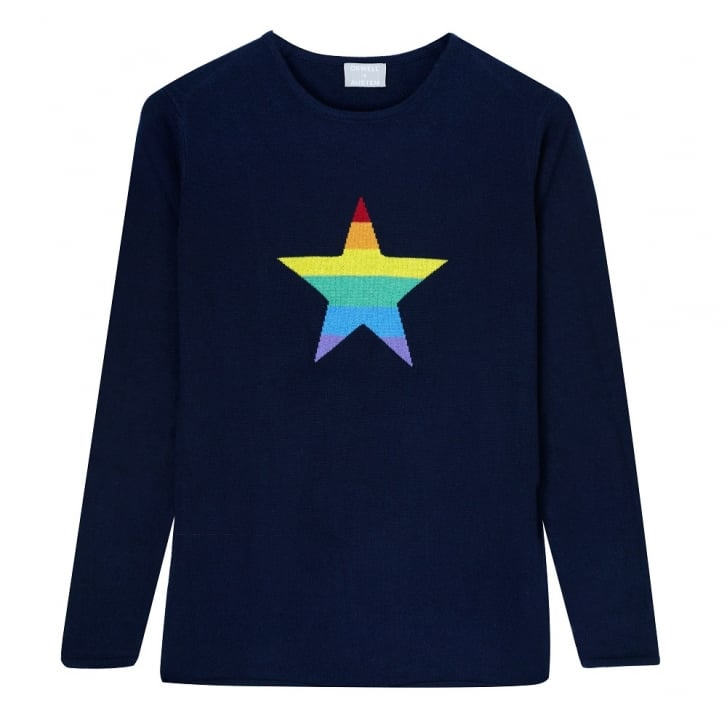 ORWELL + AUSTEN Freyja Rainbow Star Roundneck Jumper in Navy