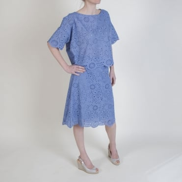 Broderie Anglaise Skirt in Indigo
