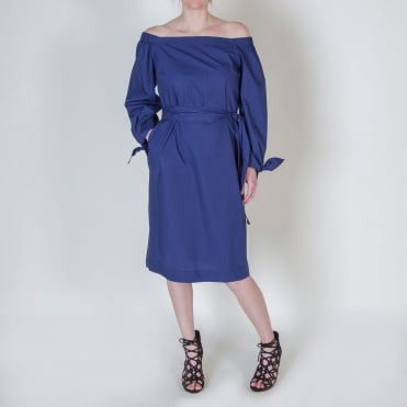 Cotton Off The Shoulder Tie Sleeve Dress in Blue