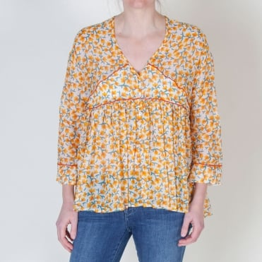 Cotton Voile Gypsy Top in Yellow