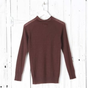 Funnel Neck Wool Knit in Rust