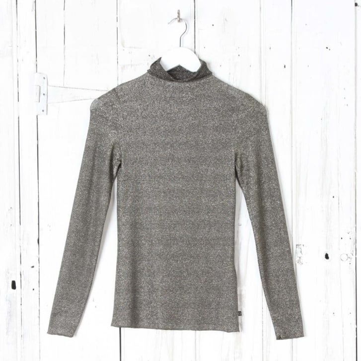OTTO DAME Lurex Knit Rollneck Top in Gold