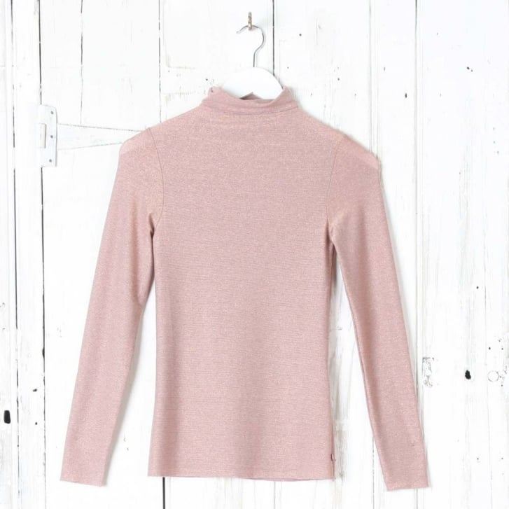 OTTO DAME Lurex Knit Rollneck Top in Rosa