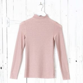 Lurex Knit Rollneck Top in Rosa