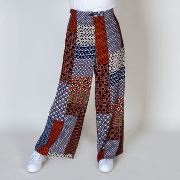 Patchwork Print Wide Long Trouser in Multi
