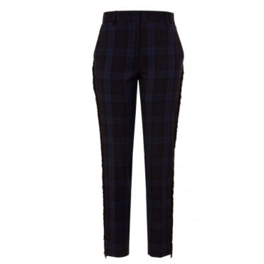 Plaid Trousers with Fringe in Blue