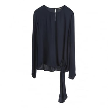 Round Neck Tie Hem Blouse in Blue