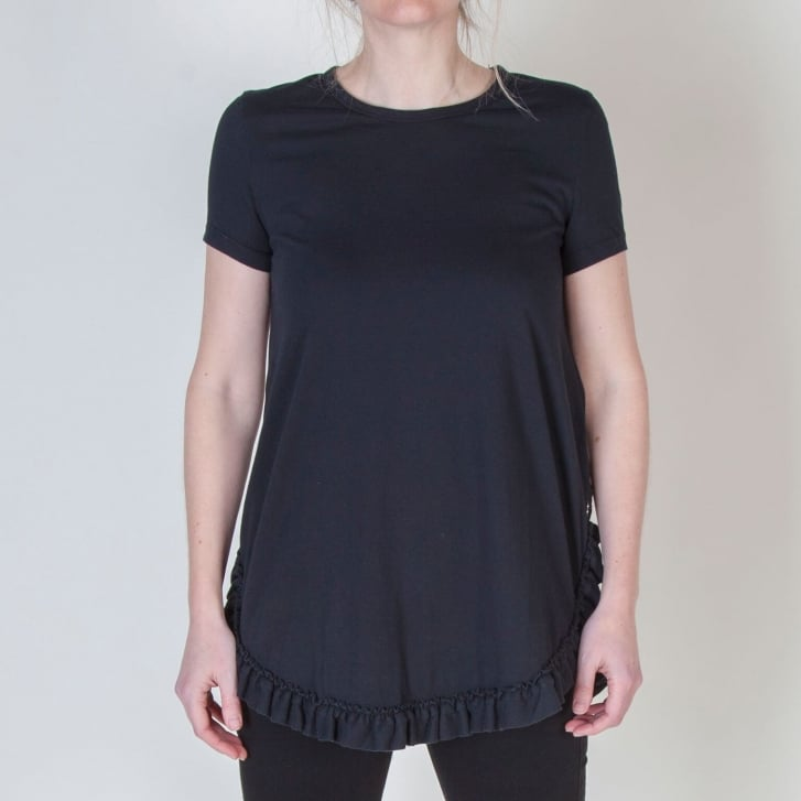 OTTO DAME Ruffle Bottom T Shirt in Black