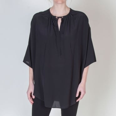 Sand Washed Silk Boho Top in Black