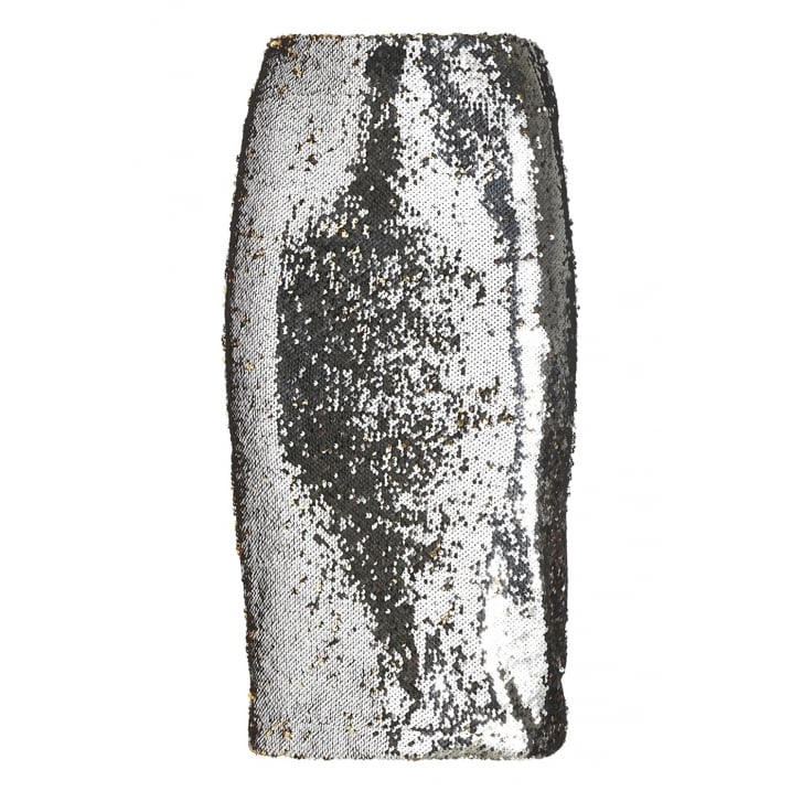 OTTO DAME Sequin Skirt in Silver/Gold