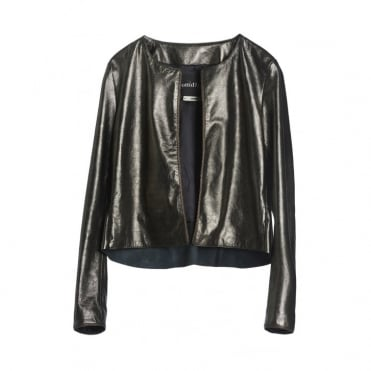 Short Leather Jacket in Bronze