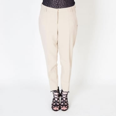 Slim Ankle Cropped Trouser in Beige