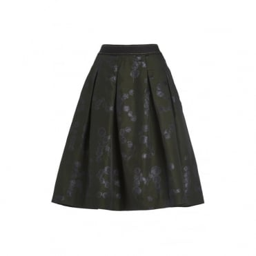 Splodge Print Jacquard Skirt in Forest Green