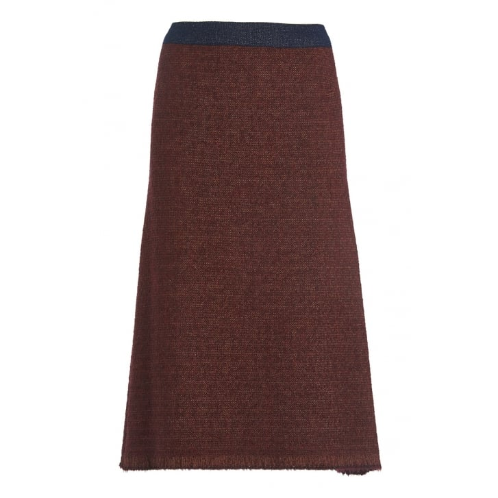 OTTO DAME Wool Aga Skirt in Rust