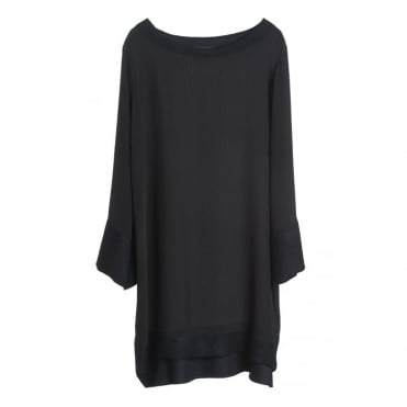 Wool and Silk Black Tunic with Navy Trim