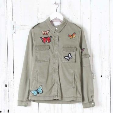 Butterfly Embellished Jacket in Grape Leaf