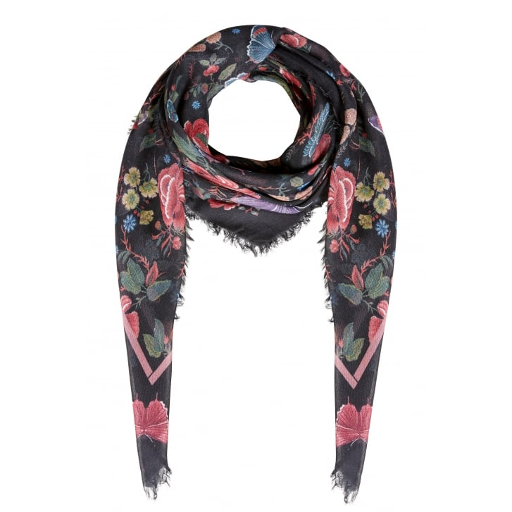 OUI Butterfly Print Scarf in Black Violet