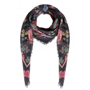 Butterfly Print Scarf in Black Violet