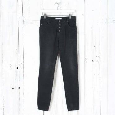Button Up Trousers in Caviar