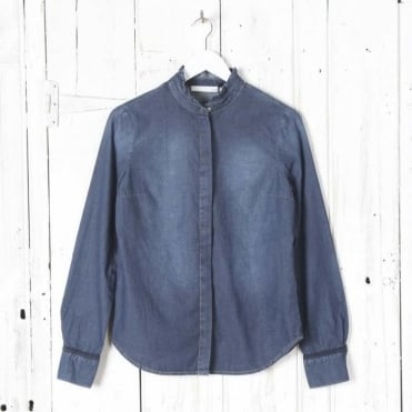 Denim Frill Collar L/S Blouse in Dark Blue Denim