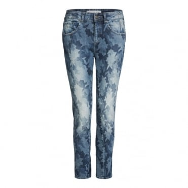Denim Patterned Jeans in Blue Denim