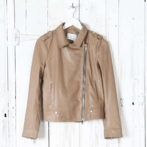 Leather Jacket in Dark Camel