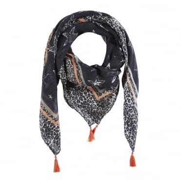 Leopard Print Scarf with Stars in Black/White