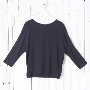 Plain Round Neck L/S/ Top in Dark Navy