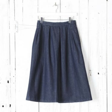 Pleated Midi Denim Skirt