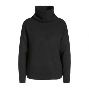 Polo Neck L/S Box Jumper in Black